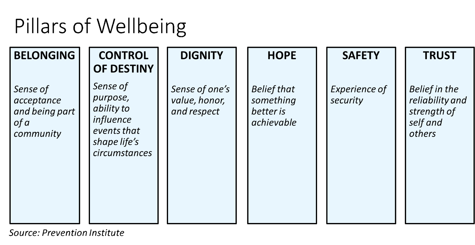 chart showing the pillars of well-being: belonging, control, dignity, hope, safety, trust