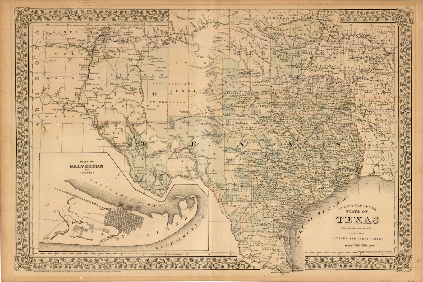 Map Of Central Texas Counties.County Map Of The State Of Texas 1873 By W H Gamble