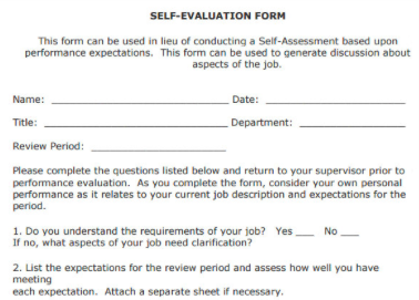 5 templates for annual or 6 month performance reviews