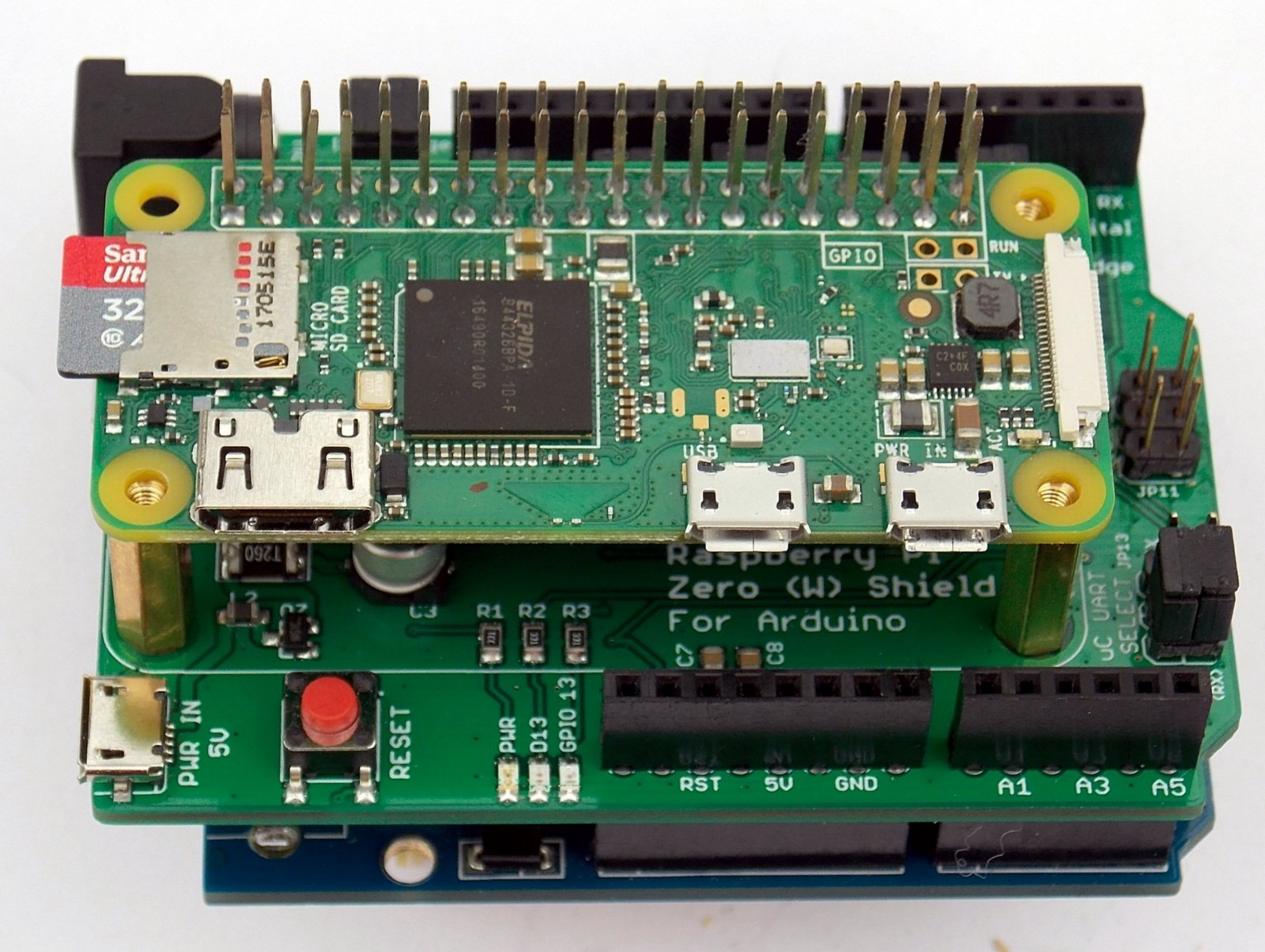 Connect the Raspberry Pi Zero to an Arduino with This Compatible Shield