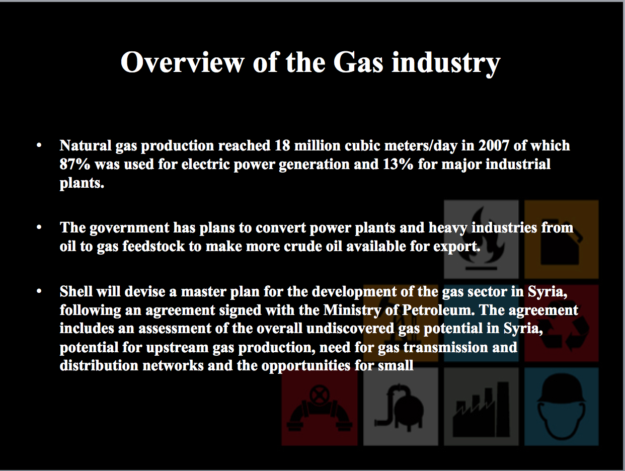 Western firms primed to cash in on syrias oil and gas frontier slide from 2010 syrian ministry of petroleum presentation mistake in final sentence is from the original platinumwayz