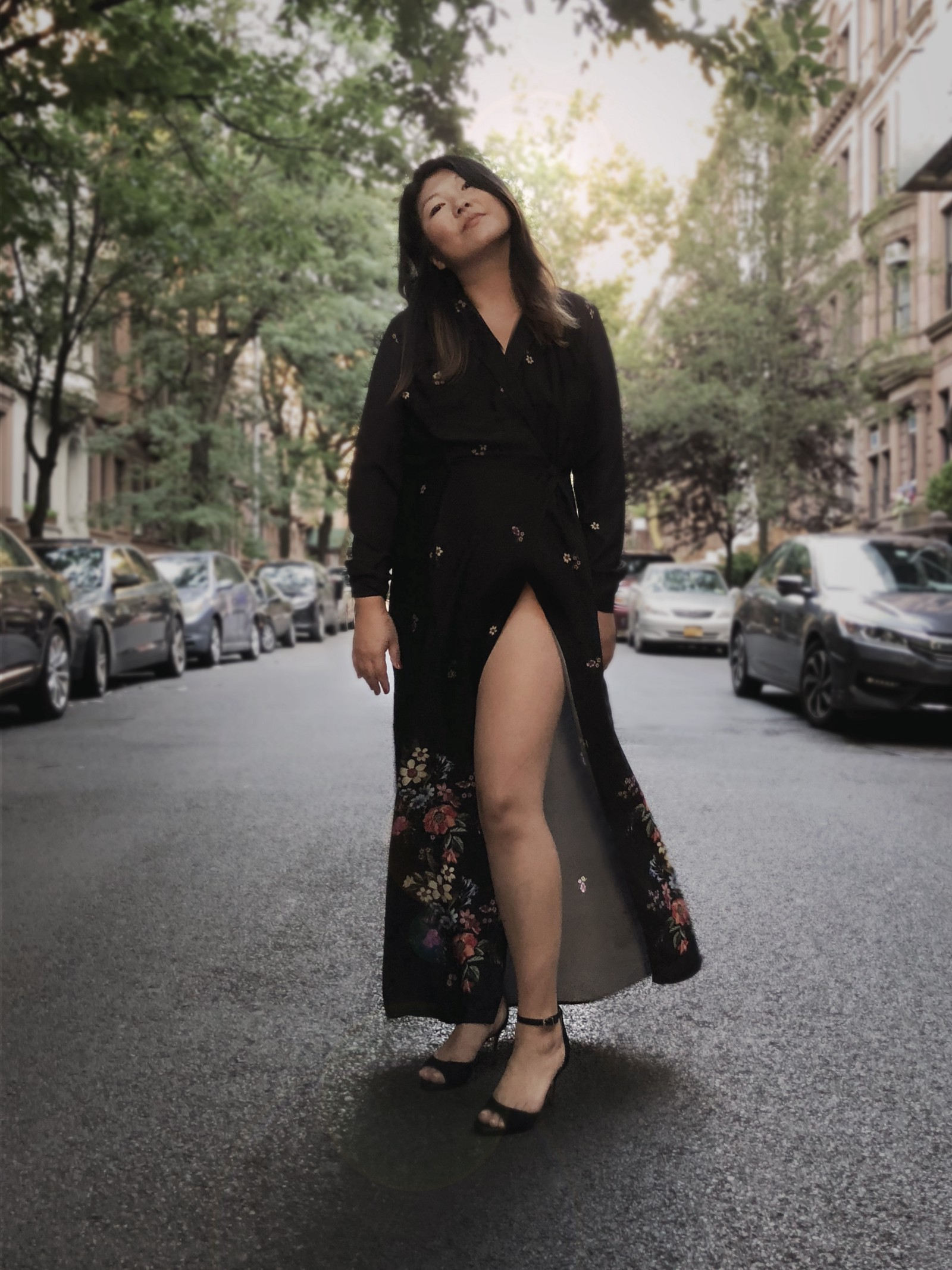 Jolene Delisle wearing the black shirt dress by Bastet Noir on the streets of NYC