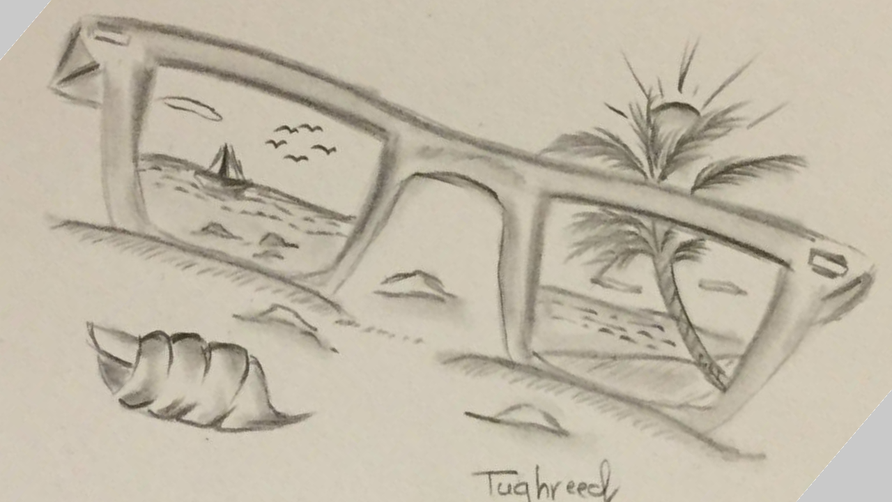 Easy drawing of a scenery of sea beach with pencil step by step