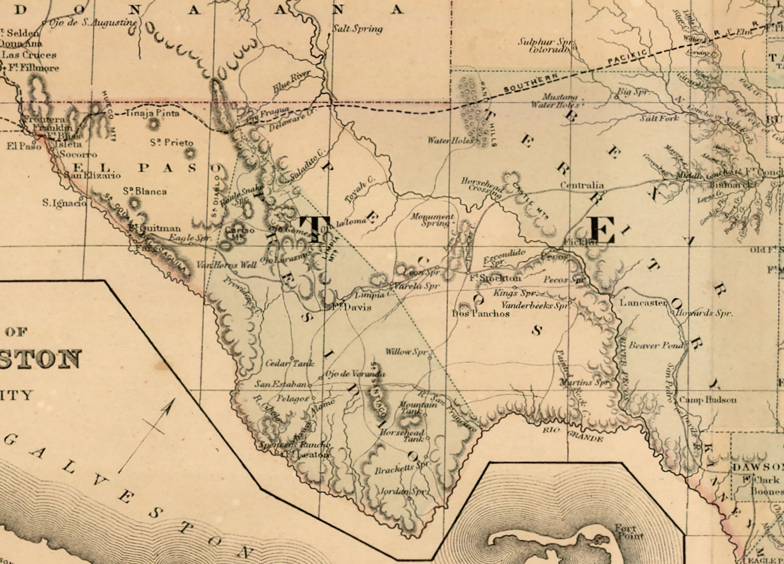 County Map of the State of Texas, 1873 by W.H. Gamble