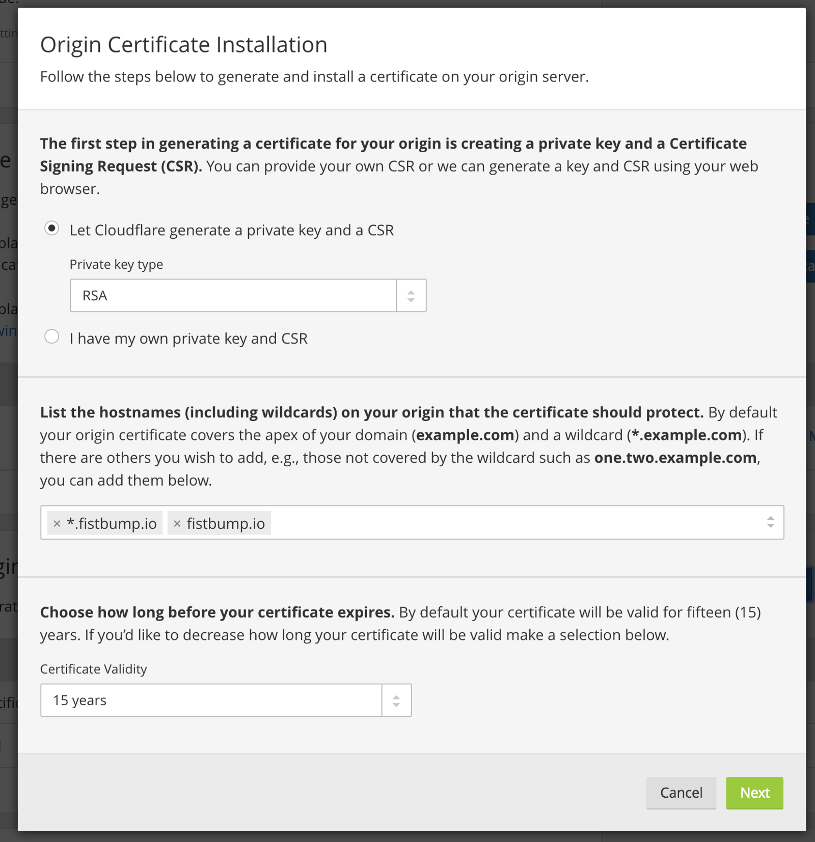 Free wildcard ssl using forge cloudflare taylor otwell medium after clicking next you will be presented two large text blocks one for the private key and one for the certificate copy both of these text blocks and xflitez Image collections