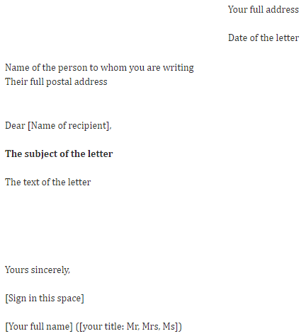 an example of a formal letter structure