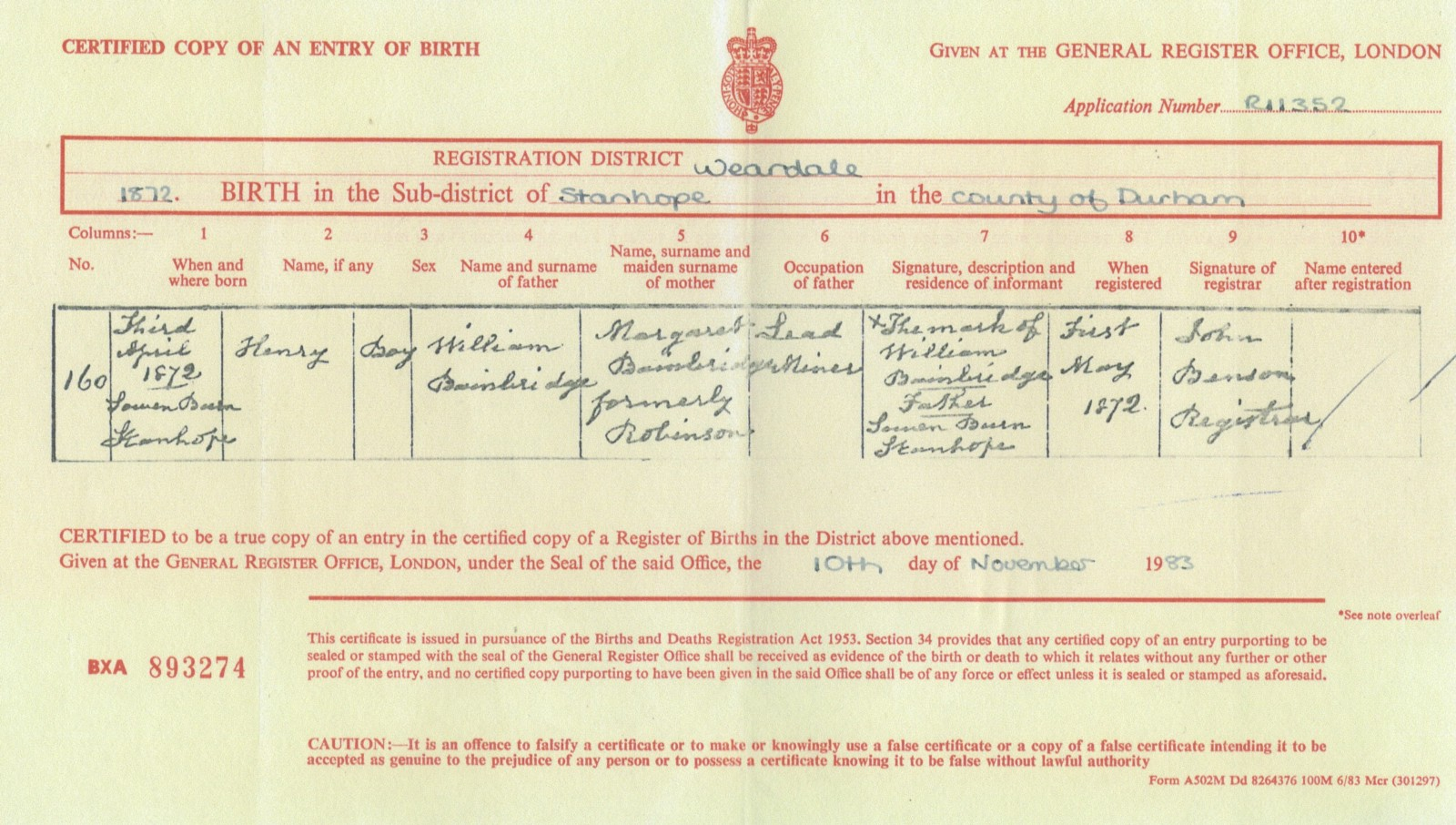 My great grandparents henry bainbridge aka harry 18721954 and henrys birth certificate 1872 aiddatafo Image collections