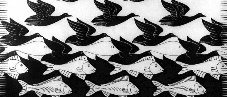 Sky and Water I, by M.C. Escher (1938)