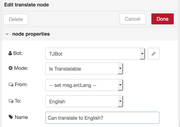 Train tjbot to identify and translate greetings in node red a switch node checks if this value is true in other words if there is a translation model to translate the greeting to english m4hsunfo