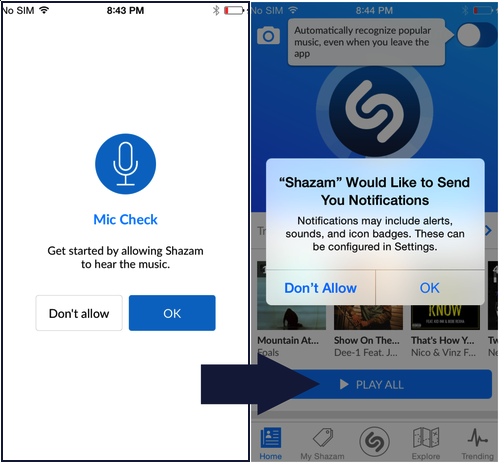 shazam is another app that shows an in app request before the os one