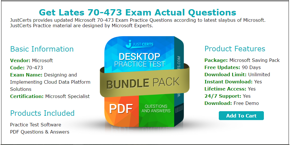 Practice For Microsoft Specialist 70473 Exams With Real Questions