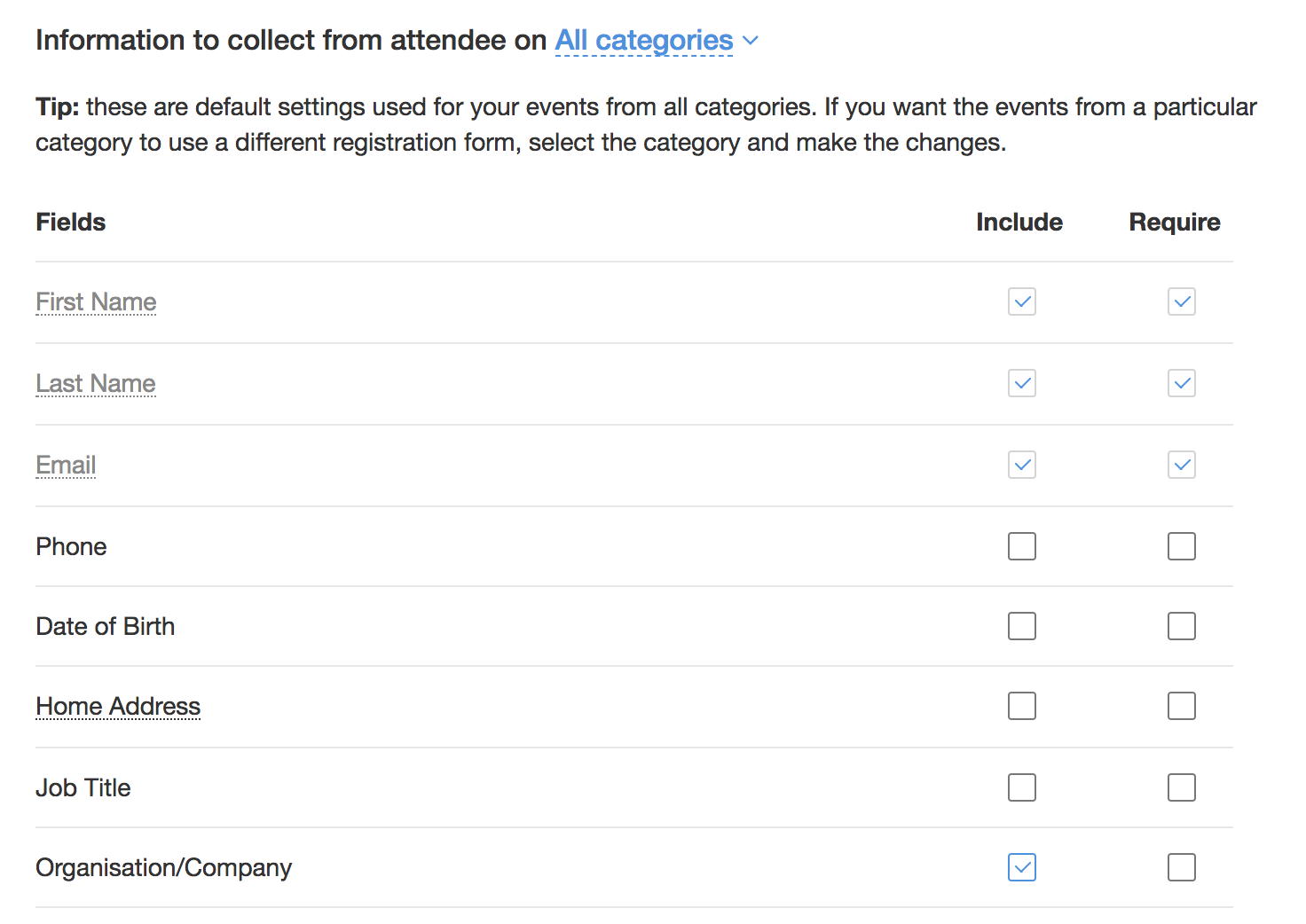 Registration Form Settings