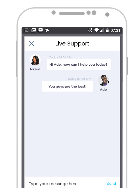 Paylater App v2 - In app chat support
