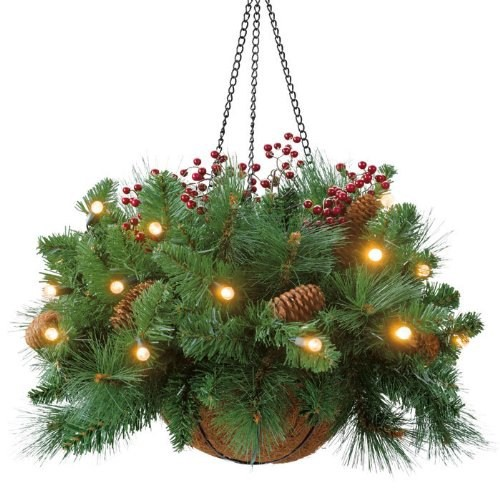 Outdoor Christmas Hanging Baskets with pre lit lights