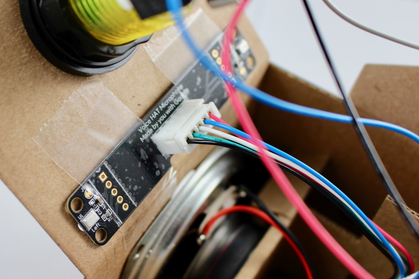 Hands On With The Aiy Projects Voice Kit Alasdair Allan Medium About A Foot And You Can Repurpose Those Wires Within Controller Taping Hat Microphone Daughter Board In Place
