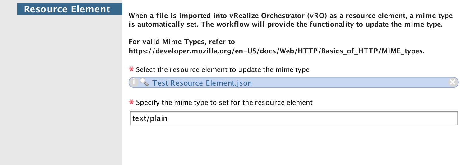 Set Mime Type for Resource Element in vRealize Orchestrator