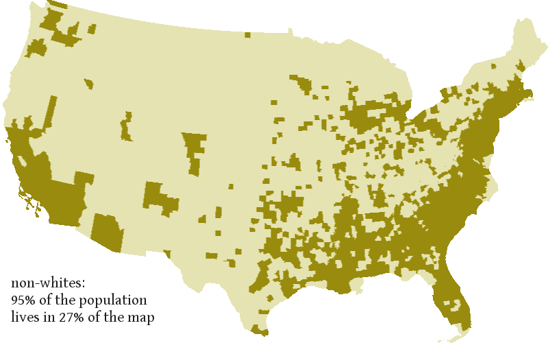 If You Apportion All Of The Pixels On A Typical Map By The Demographic Breakdown In The Pixel Although Racial Minorities Make Up 26 Of The U S Population