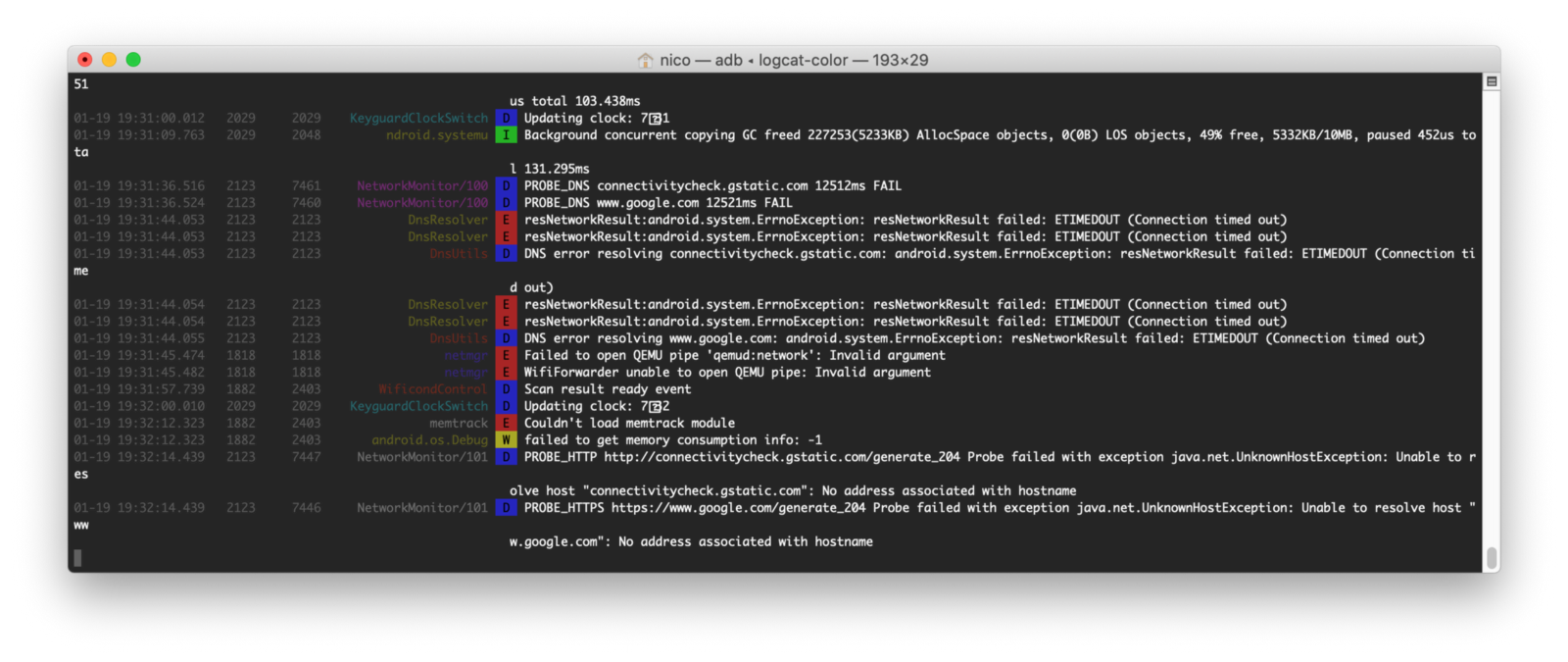 Screen capture of a logcat-color terminal