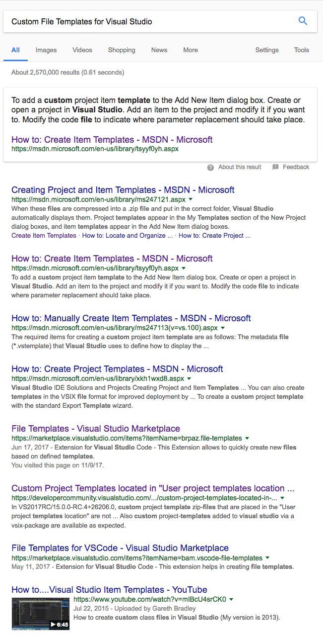 the first thing i do in a situation such as this is hit google with custom file templates for visual studio great heres a bunch of useful and relevant