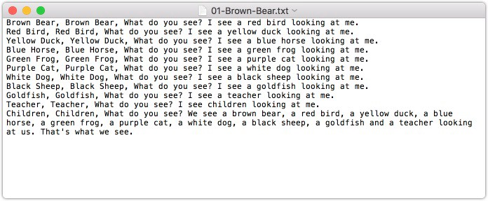 Input: Transcribed text of a book Brown Bear.