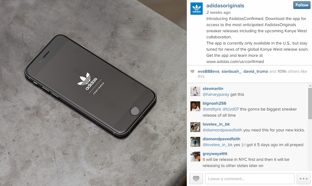 Adidas introduced Instagram users to Confirmed via both the adidasoriginals  (4.3m followers) and adidas (3.3m followers) accounts. The launch screen on  an ... 5f8b3d8b4