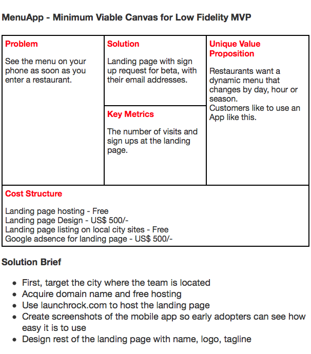 minimum viable product template - using the minimum viable canvas minimum viable canvas