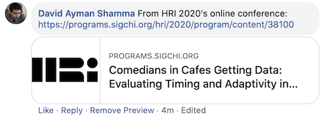 A facebook comment and url preview of a paper from HRI2020.
