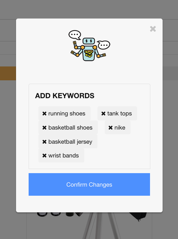 Figure 5. Next we've entered a half dozen keywords to generate a database filled with basketball apparel.