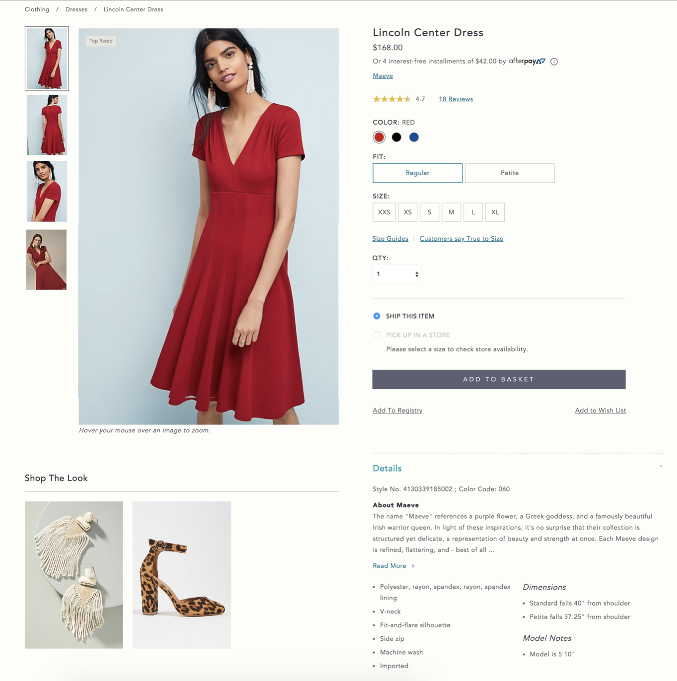 0e7b19f527ad Screenshot from https://www.anthropologie.com showcasing their Shop The  Look feature