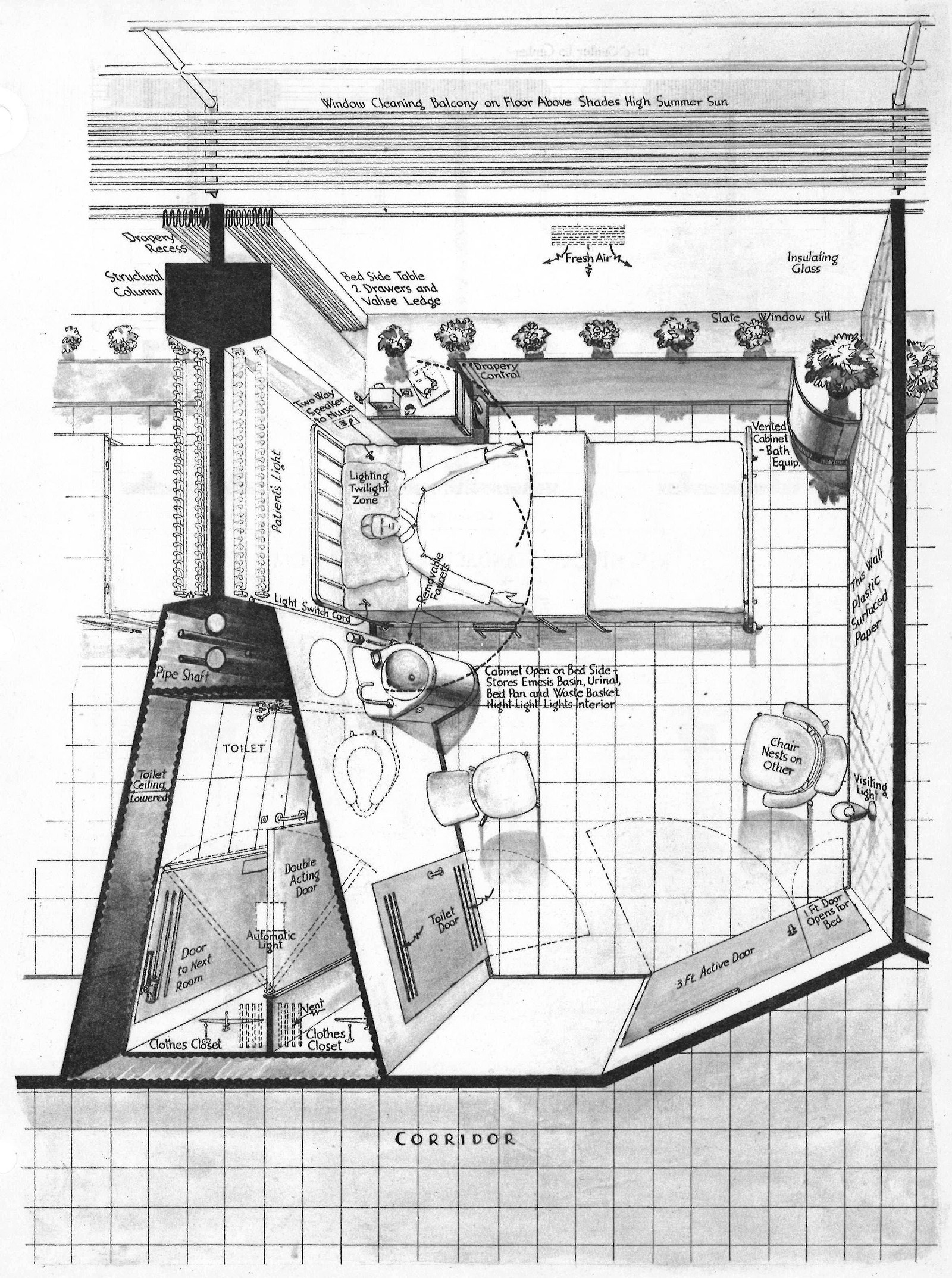 Open Door Drawing Perspective To This Edgetoedge Use Of Glass Within The Patient Room Was An Innovative If Not Radical Concept For Exterior Wall At Time Certainly Us Antecedents u201cminimal Patient Roomu201d u2013 Mark Careaga Medium