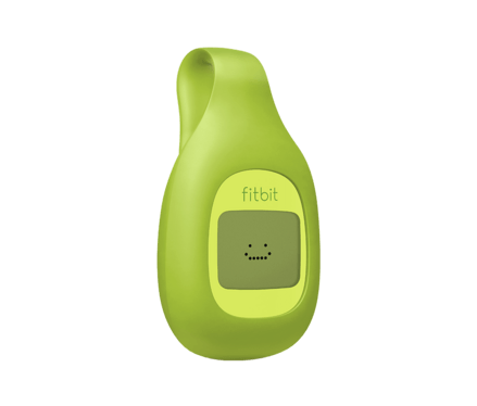 A green FitBit Zip, complete with pixel-art grin.