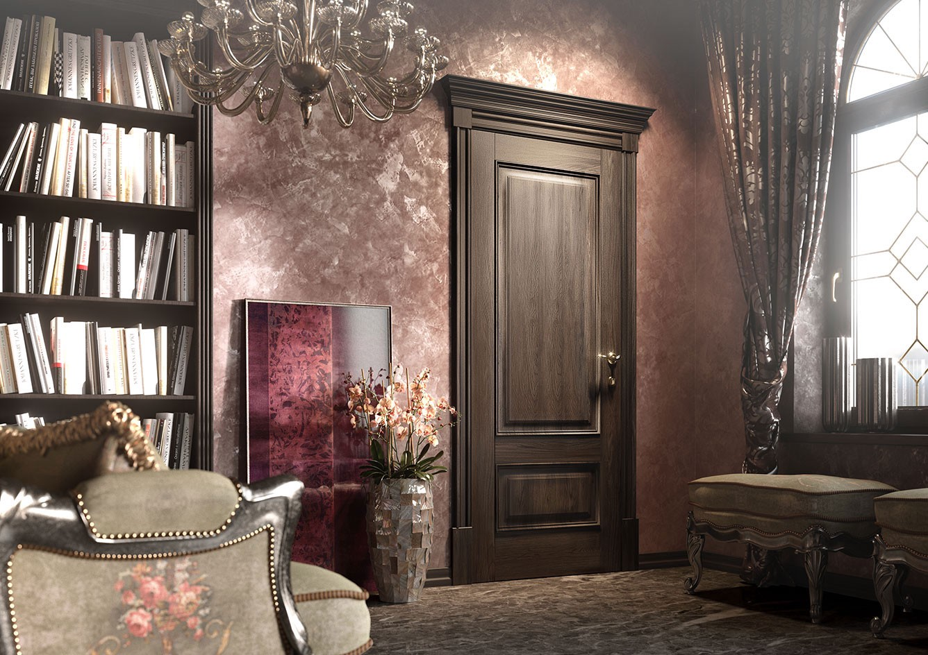 Symmetrical Shapes And Richness Of Decoration Characterize Doors In The  Classical Style. Luxury Decorative ...
