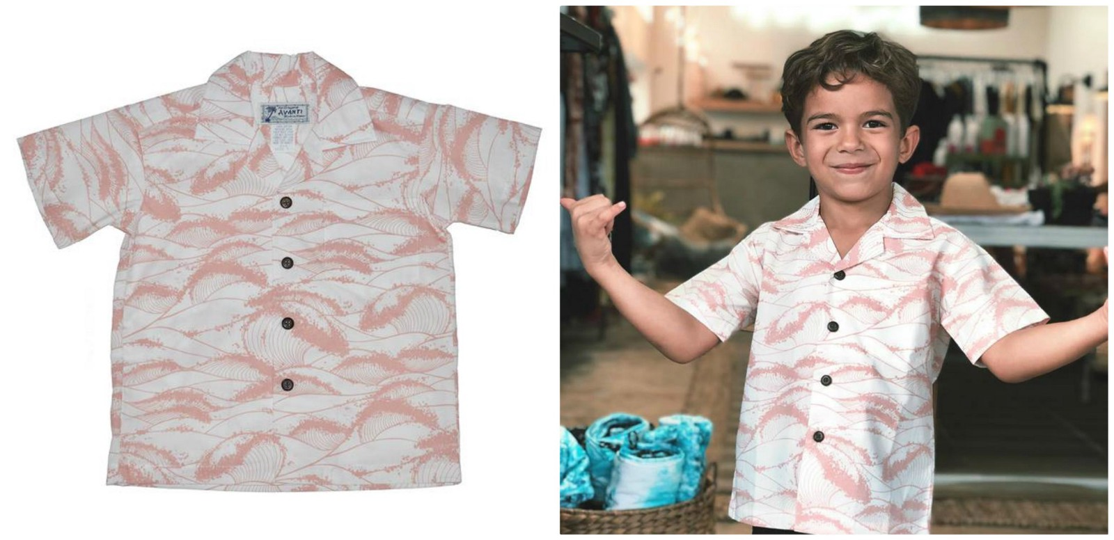 0f67c00ab The wave pattern and the soothing mellow rose shade on the white base makes  this piece worth having in your kid's closet. One of the finest Hawaiian  shirts ...