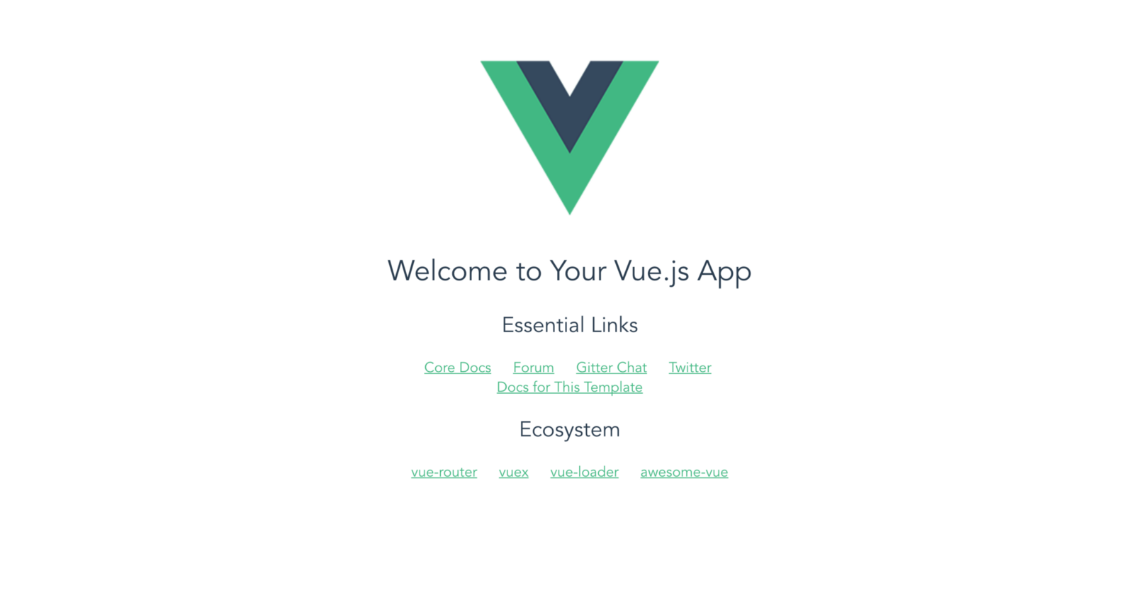 default view from the new Vue project