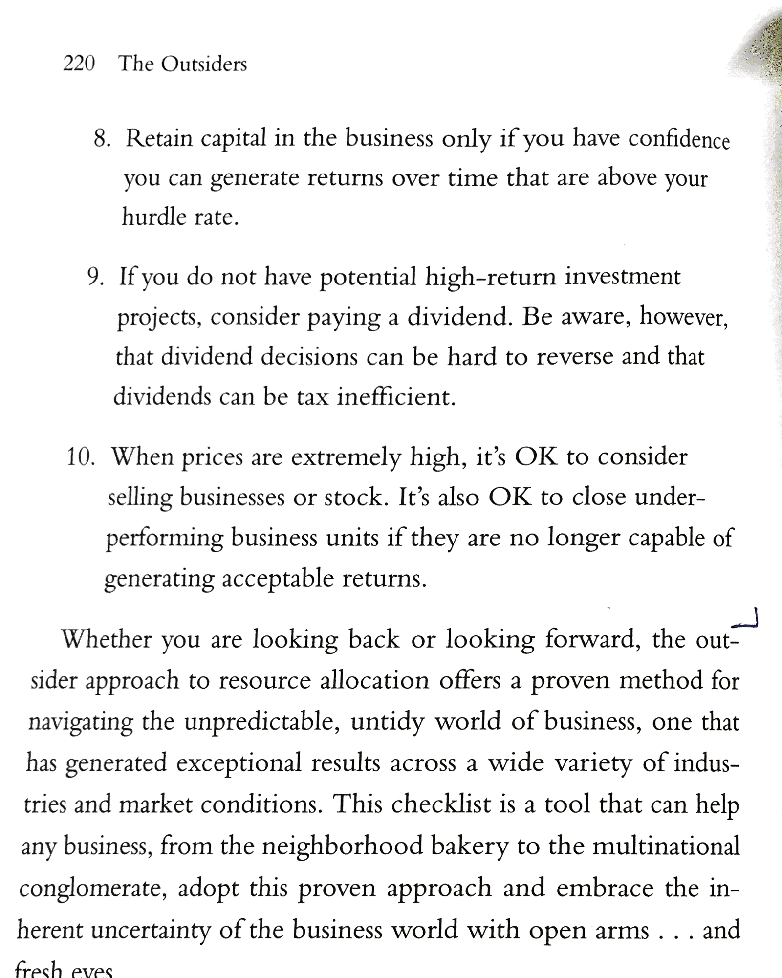 Book notes the outsiders eight unconventional ceos and their the outsiders checklist malvernweather Choice Image