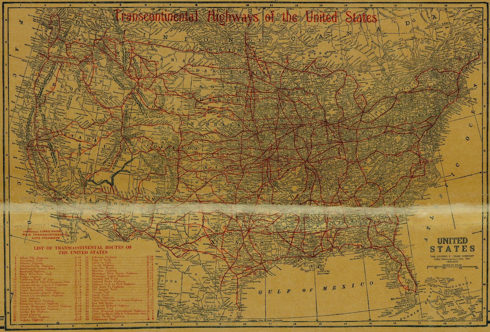 Us Map 1920.National Map Company S Highway Map Of Texas 1920 Save Texas