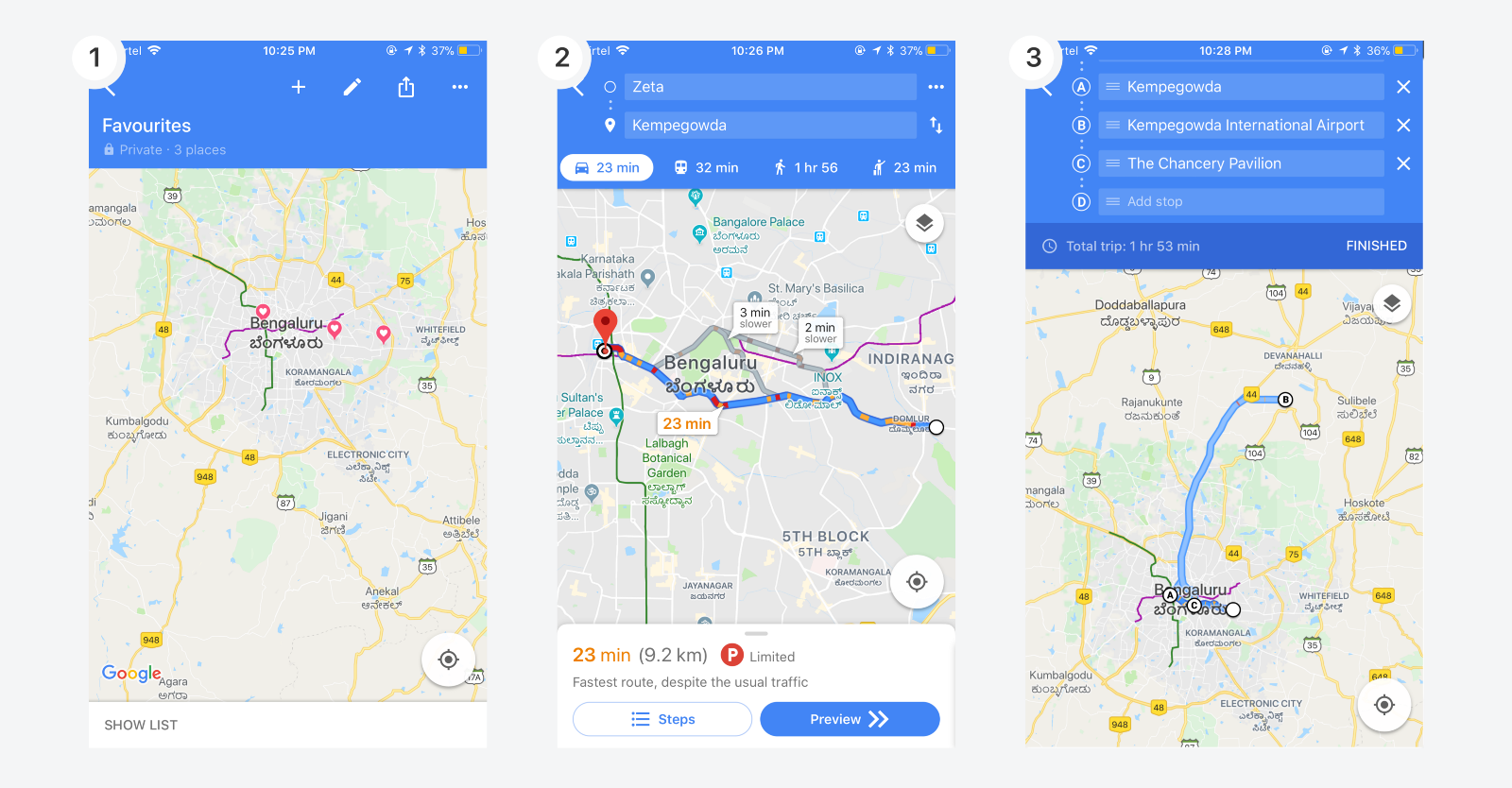 Searching multiple random locations on Google Maps : Case study on