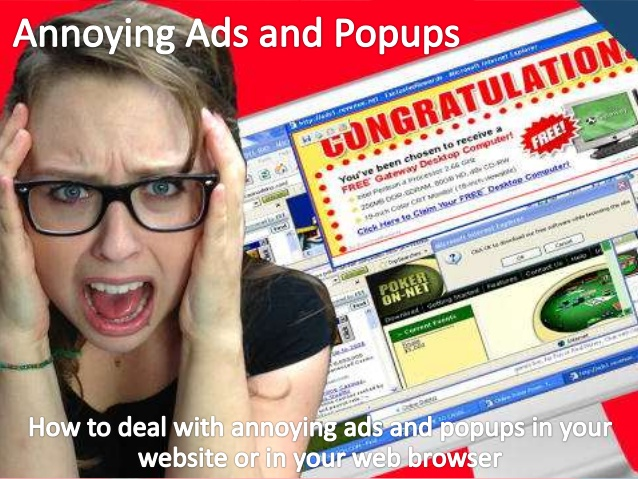 Image of a girl who simply just can't anymore with pop up ads