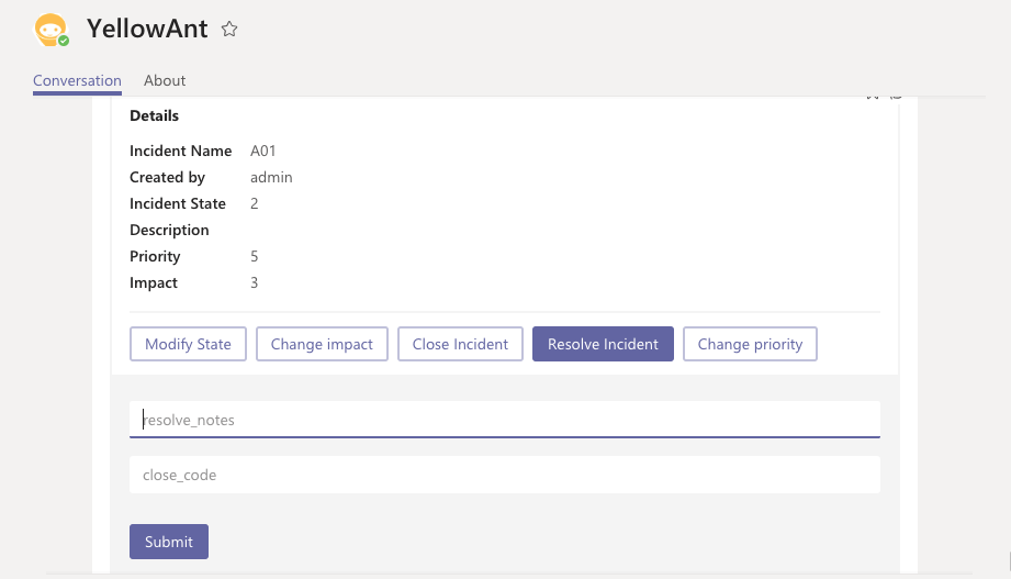 Command ServiceNow on Microsoft Teams