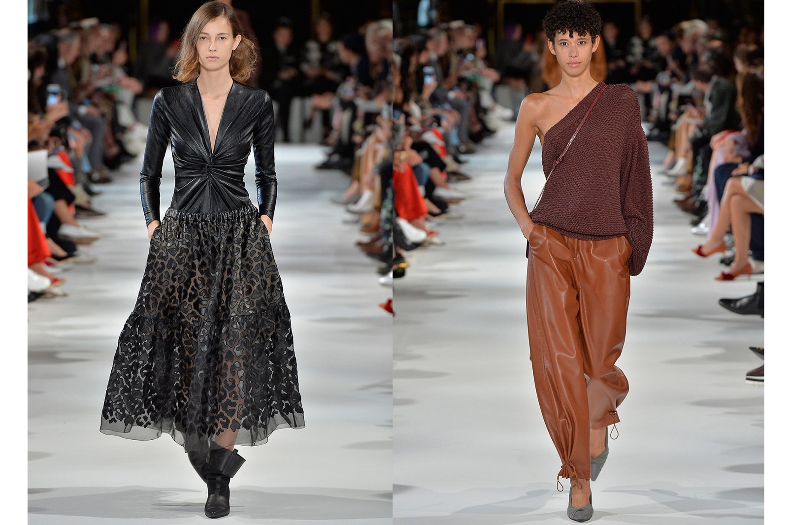 f431b21073f From left: Diversifying its use of faux leather, Stella McCartney, for the  first time introduced faux leather in her ready-to-wear offerings; ...