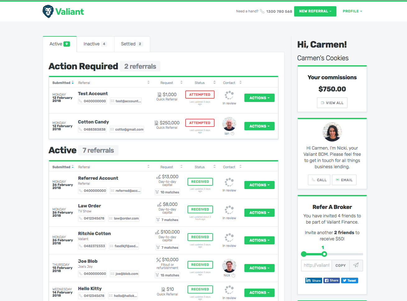 Valiant Finance broker partner dashboard