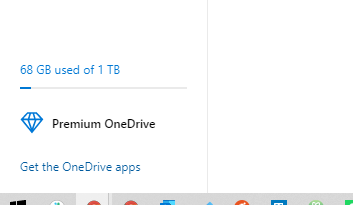 Image of OneDrive displaying how much data it is storing
