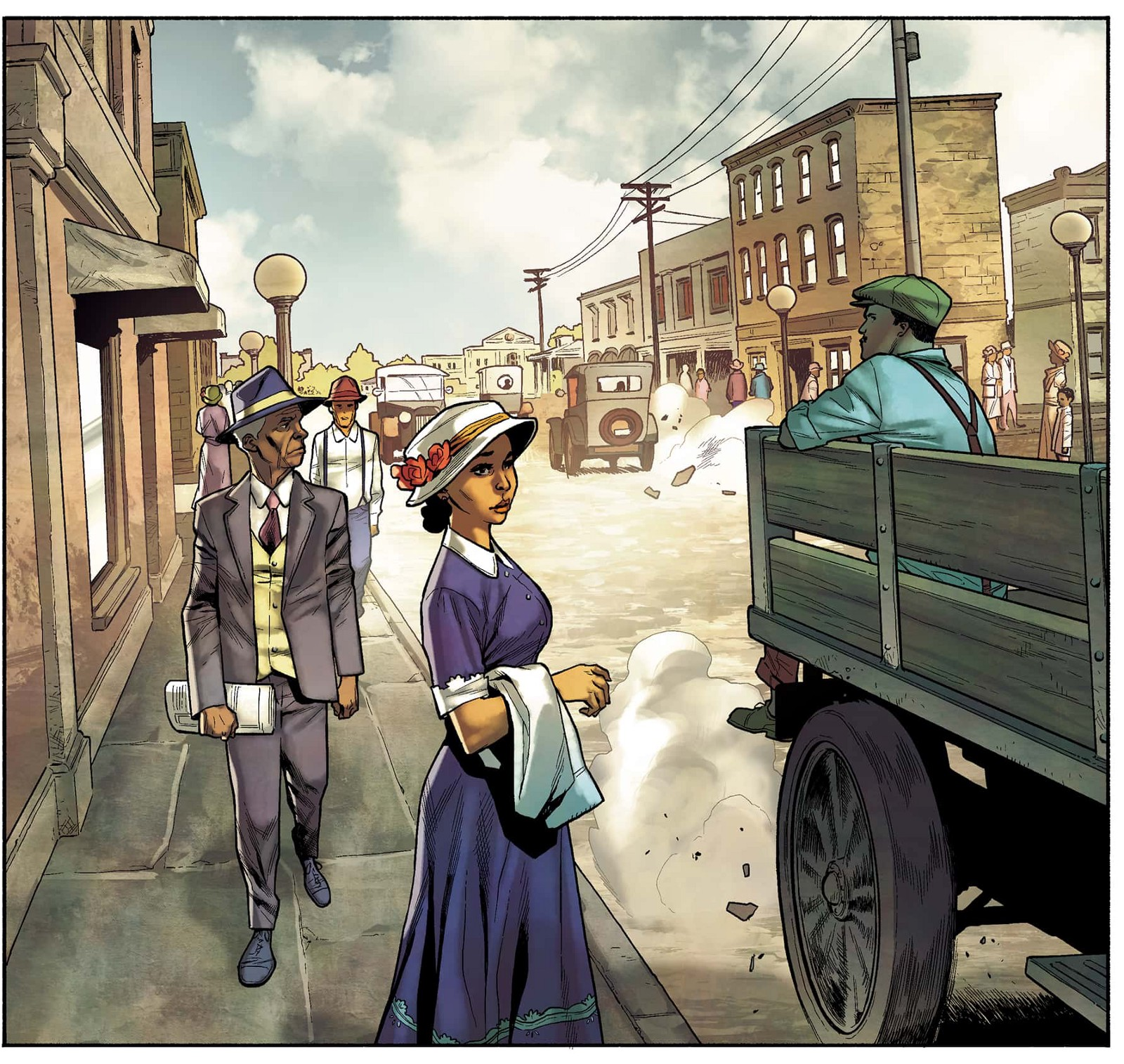 An illustration of a Black woman in what appears to be 19th century America.
