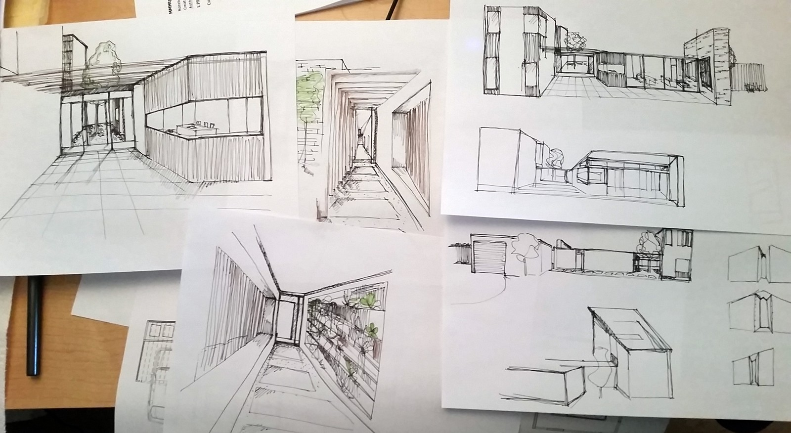 We will often pair these vignette sketches with inspiration images we collect through the process to present a better walk through of our ideas