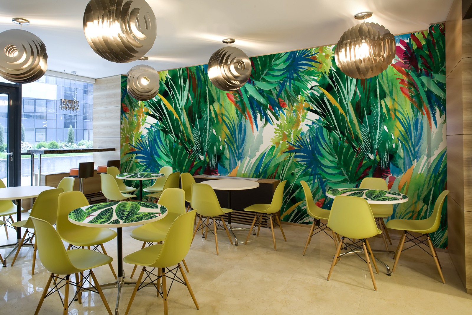 Cozy canteen in shades of greenery by pixers your business