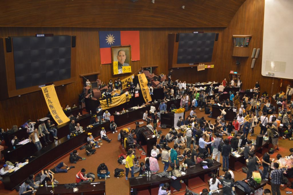 Sunflower Movement demonstrators occupy the Legislative Yuan in Taipei