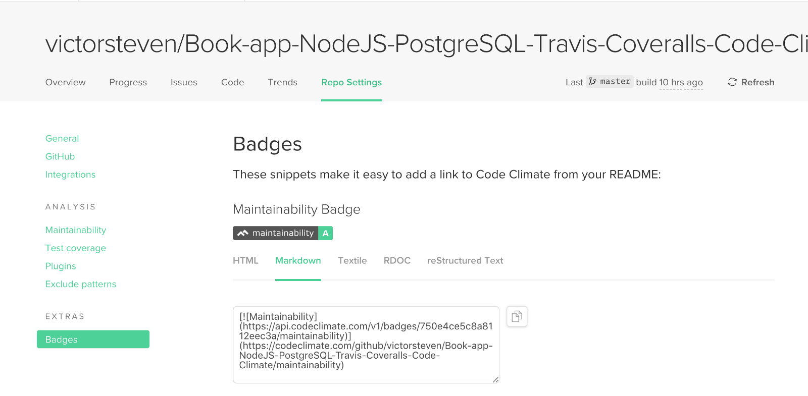 Restful API with NodeJS, Express, PostgreSQL, Sequelize, Travis