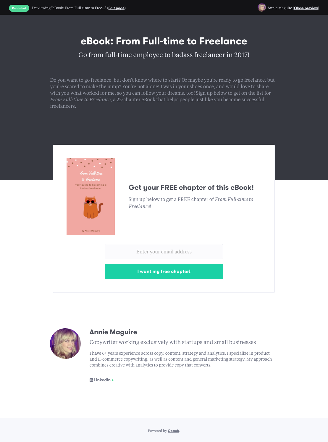 """Presale Landing Page For My Ebook (it's Now A €�free Chapter"""" Lead Capture  Page) €� Powered By Coach"""