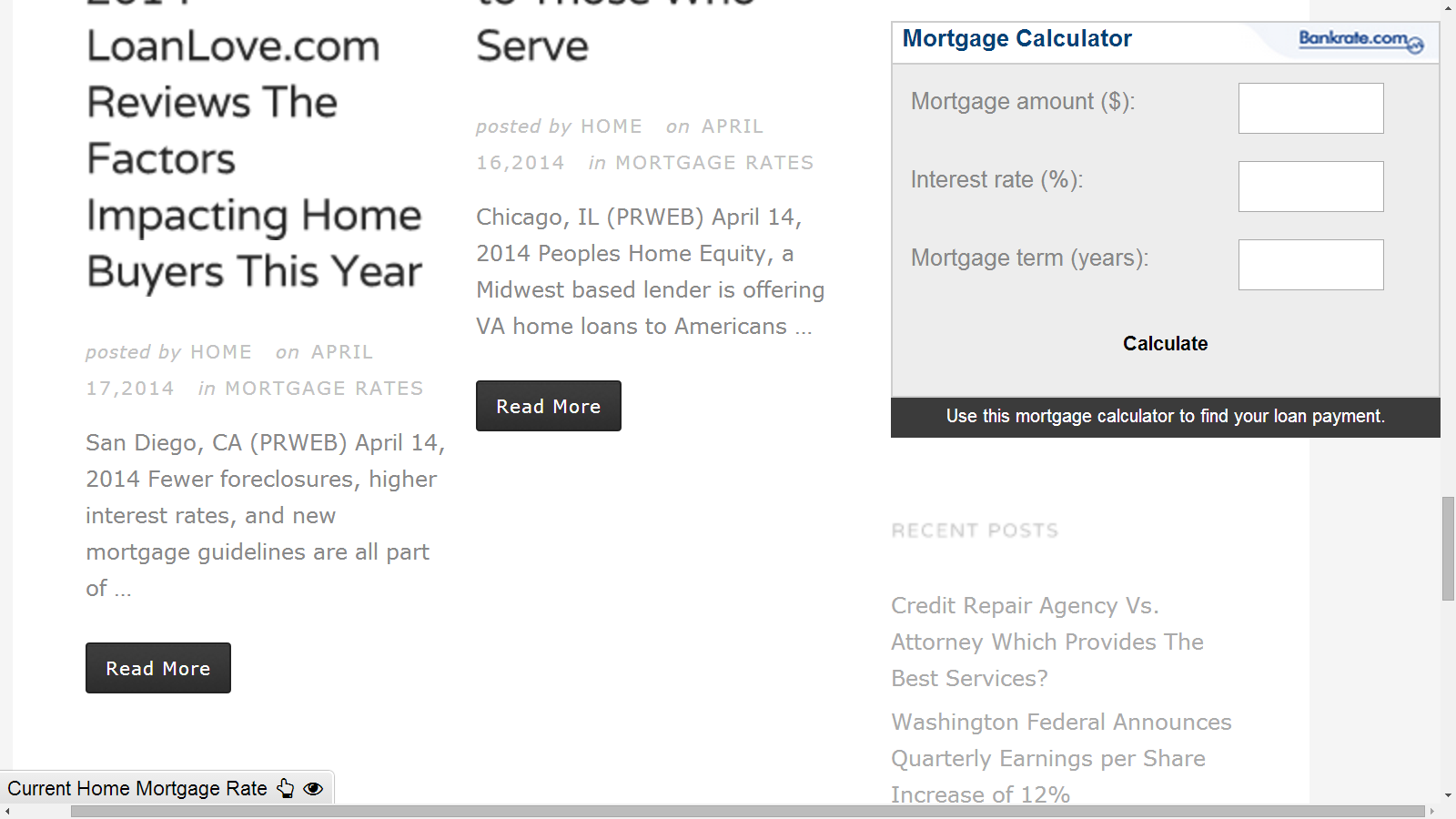 Example Of Mortgage Site With Mortgage Calculator Widget