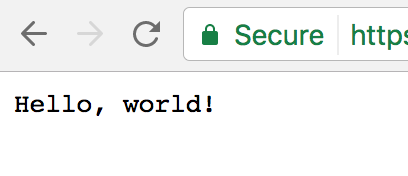 "A screenshot of a web browser showing a document with the text ""Hello, world!"""